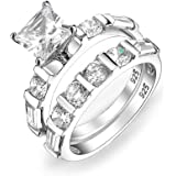 Classic Traditional Style 2CT Cubic Zirconia Square Brilliant Princess Cut Solitaire Pave Band AAA CZ Anniversary Wedding Eng