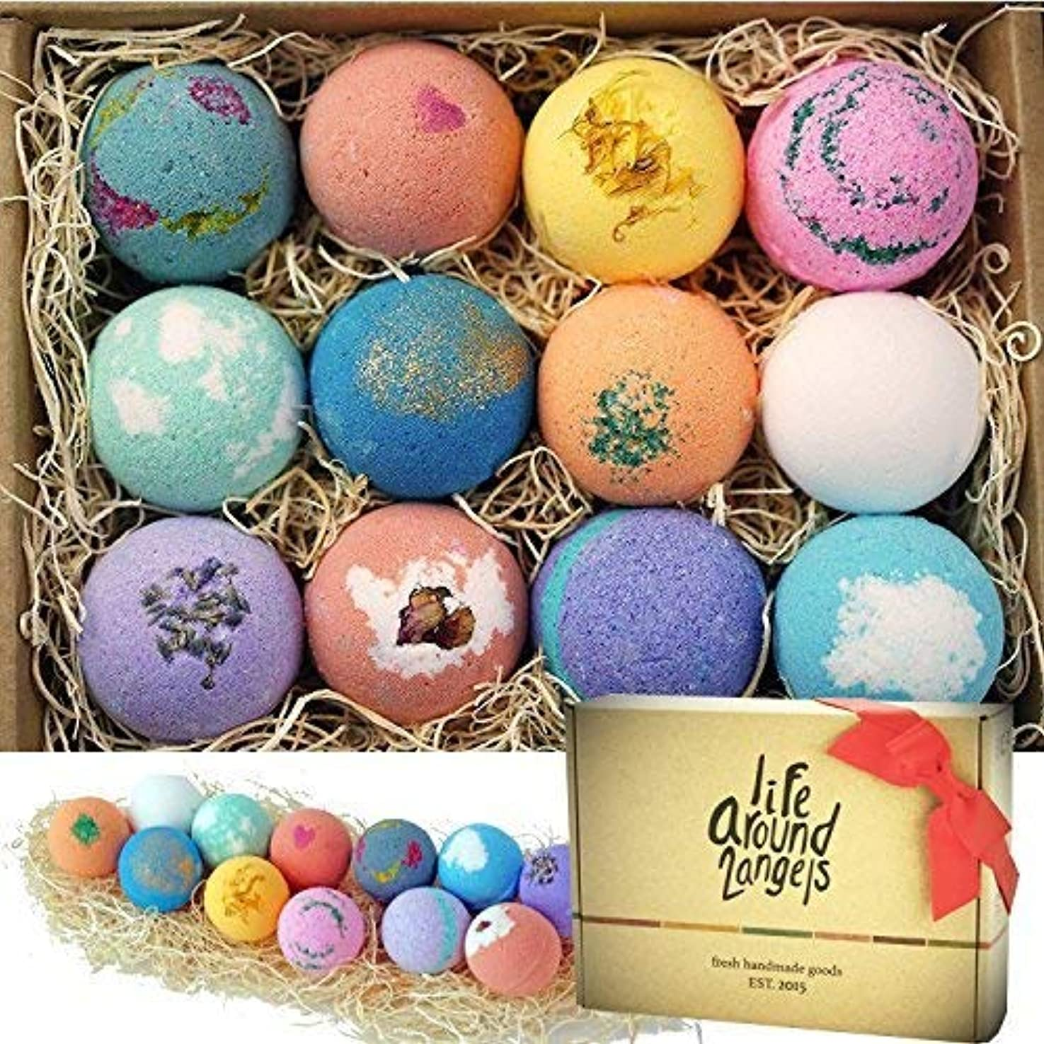 LifeAround2Angels バスボム 入浴剤 ギフトセット12個入り bath bombs USA made Fizzies, Shea & Coco Butter Dry Skin Moisturize, Perfect...