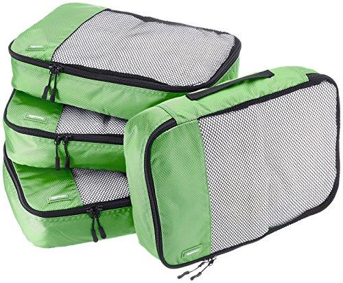 Amazonベーシック 旅行用 収納 ケース 4点セット - Mサイズ x 4 グリーン