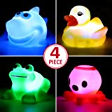 Bath Toy,Can Flashing Colourful Light(4 Pack),Yeonha Toys Floating Bath Toy, Light Up Baby Shower Bathtime Bathtub Toy For Ba