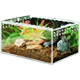 "MABELER Magnetic Acrylic Reptile Cage 4""x3.3""x2.5"" Nano Enclosure Transparent Reptile Breeding Box Terrarium Tank Tarantula S"