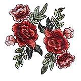 WIFFCOAA 装飾ワッペン 刺繍パッチアップリケ 服/帽子/バッグなど装飾用 お花柄 バラの花 トリミング 刺繍アイロンアップリケワッペン 赤 2枚セット