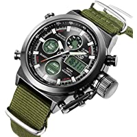 Tamlee Waterproof Men Quartz Analog Digital Military Wrist Watch Canvas Nylon Fabric Strap LED Sport Watches