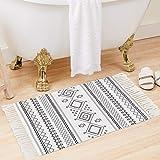 Boho Bathroom Rug White Black Bath Mat Cotton Small Throw Rug 2'x3', Woven Rug Indoor Area Rugs with Tassel for Kitchen Doorw