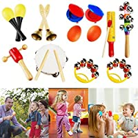 YOUDirect 10Pcs Kids Musical Instruments - Percussion Toy Set Rhythm Band Set Drum Toy Kits for Toddlers Early Childhood Gift Set [並行輸入品]