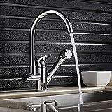 「保証期間5年」キッチン水栓蛇口 シングルレバー混合栓 台付ハンド シャワー形 伸縮ノズル シャワーヘッド ホース引き出し機能付き