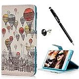 【Badalink】Huawei P9liteケース 手帳型 スタンド機能付 カードポケット付き 財布型 上絵 PUレザー 熱気球