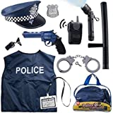 12 Pcs Police Costume for kids with Toy Role Play Kit with police badge, handcuffs,kids flashlight for Cop Costume, great for