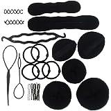 SUSULU Hair Bun Maker for Women Hair Braid Tool Magic Sponge Bump Shaper Set Spiral Hair clips Elastic Hair Band DIY Ponytail