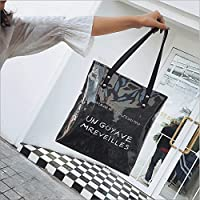 サマーバッグ、韓国のアートスタイルカジュアルショルダーバッグ、クラフト紙のショッピングバッグ、ハンドバッグ。 (色 : Black)