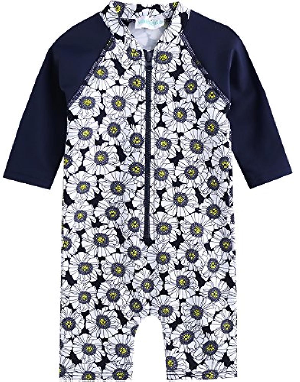 [Vaenait Baby] 0-24ヶ月紫外線カット ラッシュガードベービー子供女の子長袖ワンピース水着