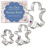 "Ann Clark Cookie Cutters Gingerbread Man/Men Cookie Cutter Set with Recipe Book - 3 Piece - 2.875"", 3.75"", 5"" - USA Made Stee"