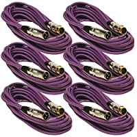 Seismic Audio SAPGX-25Purple-6 Pack 25' Gold Plated Purple XLR Mic Microphone Patch Cable Cord Balanced [並行輸入品]