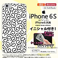 iPhone6/iPhone6s スマホケース カバー アイフォン6/6s ソフトケース イニシャル 唐草 白×黒 nk-iphone6-tp1133ini T