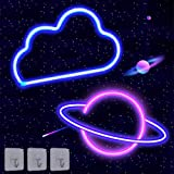 2 Pack Cloud Planet Neon Signs Neon Lights for Wall Decor USB or Battery Operated LED Light Signs for Bedroom, Decorative Neo