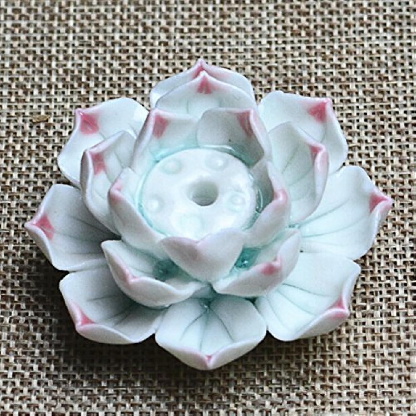 申し立てられたくぼみブラウズLiebeye セラミック 香炉 バーナー スティック ホルダー アッシュ キャッチャー プレート 1/3穴 ピンク ポイントの花