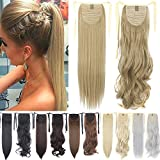 Binding Tie up Synthetic Ribbon Ponytail Extensions Heat Resistant One Piece Drawstring Pony Tail Long Wavy Curly Soft Silky for Women Lady Girls