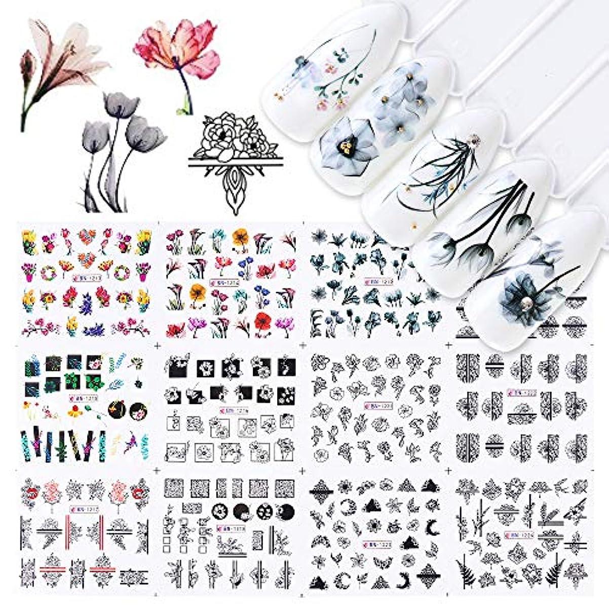 チャーム目指す精度SUKTI&XIAO ネイルステッカー 12ピース水ネイルステッカー水彩インクレース花中空デザインジェルマニキュアスライダー用ネイルデカールラップ紙