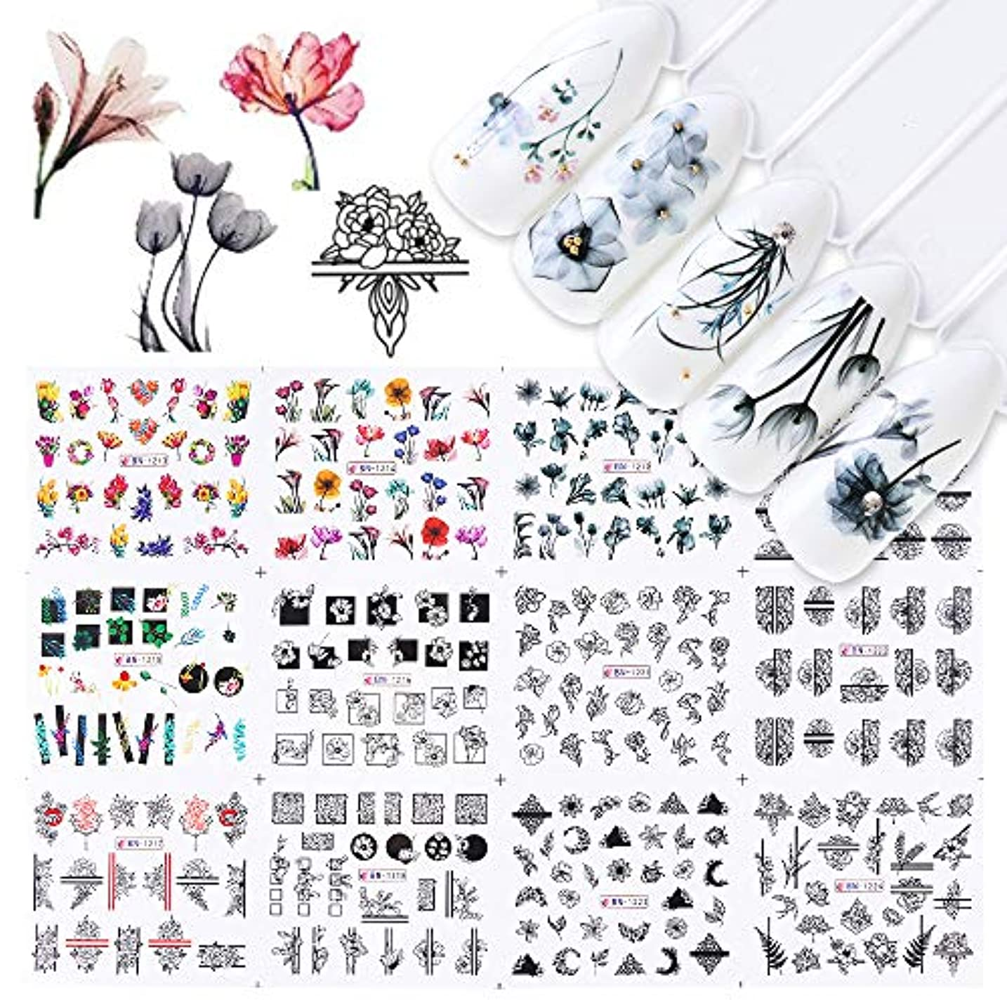 選ぶ裸計算可能SUKTI&XIAO ネイルステッカー 12ピース水ネイルステッカー水彩インクレース花中空デザインジェルマニキュアスライダー用ネイルデカールラップ紙