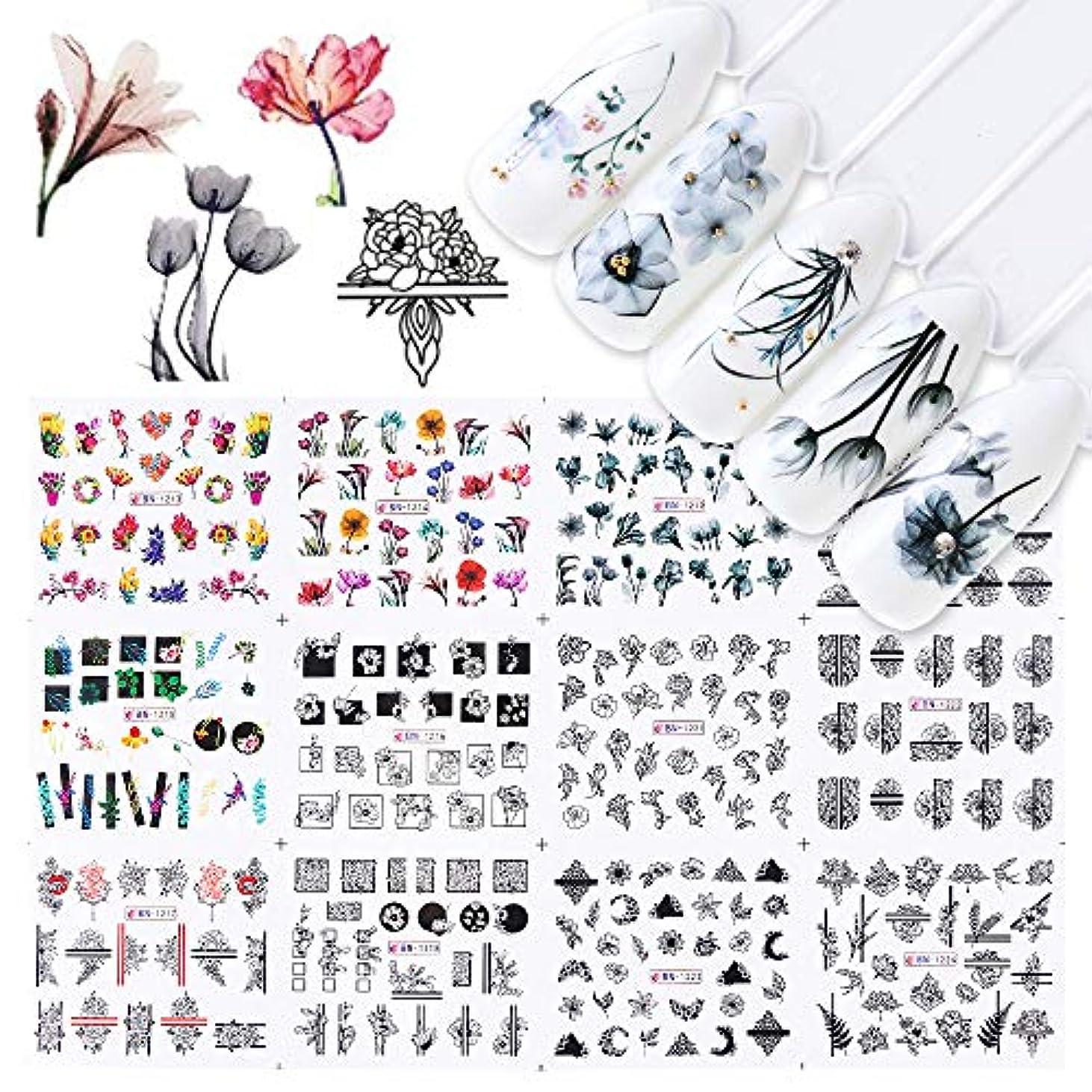 スライス形容詞枕SUKTI&XIAO ネイルステッカー 12ピース水ネイルステッカー水彩インクレース花中空デザインジェルマニキュアスライダー用ネイルデカールラップ紙