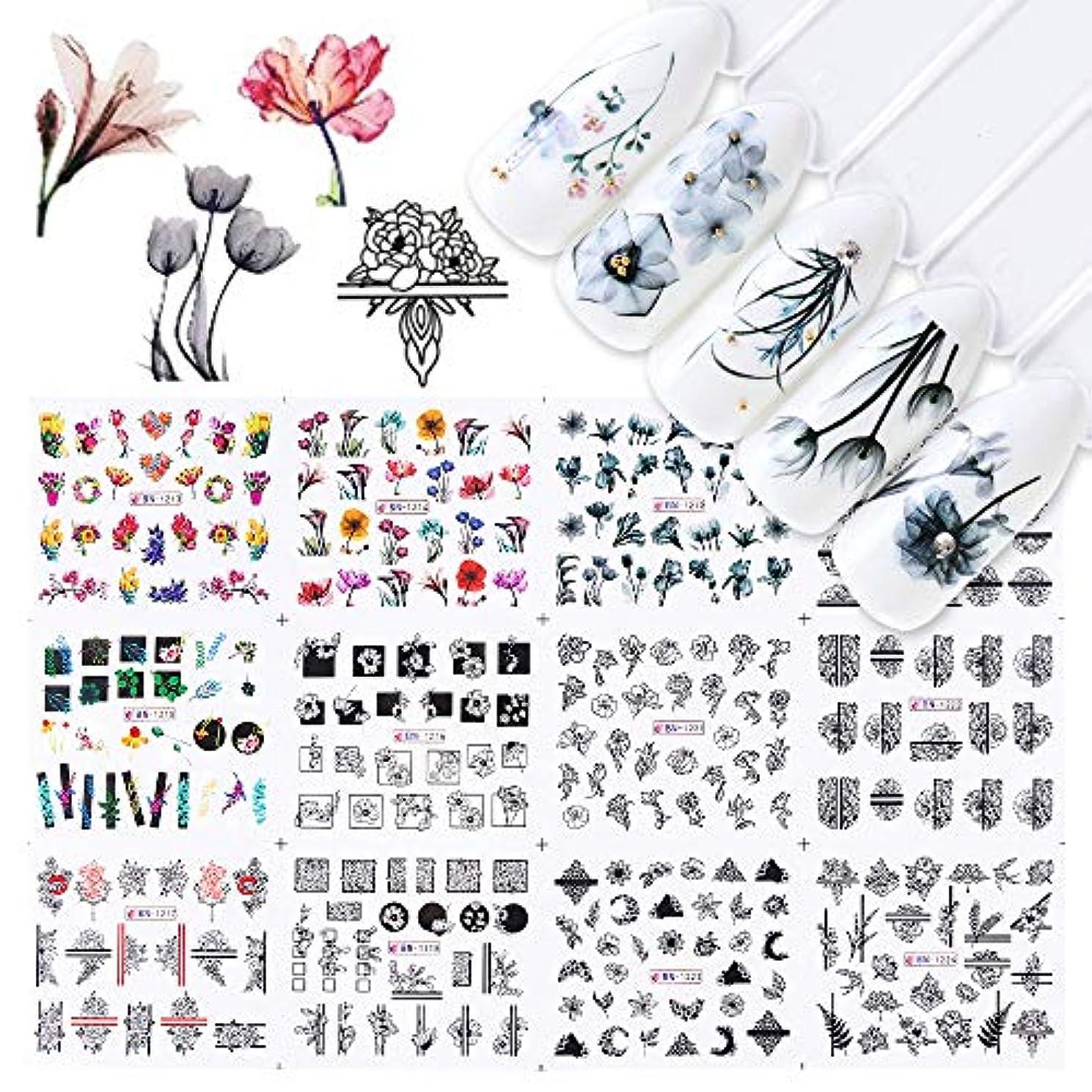 自動車幻想的狭いSUKTI&XIAO ネイルステッカー 12ピース水ネイルステッカー水彩インクレース花中空デザインジェルマニキュアスライダー用ネイルデカールラップ紙
