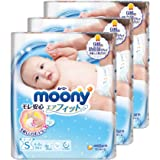 Moony Tape Diaper, S, 84 Count, (Pack of 3)
