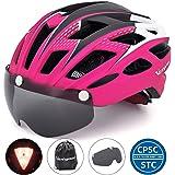 VICTGOAL 自転車 ヘルメット 大人用 LEDライト付きサイクルヘルメット 磁気ゴーグル 防虫ネット ロードバイクヘルメット 超軽量 高剛性 サイクリングヘルメット サイズ調整可能 男女兼用 自転車ヘルメット 57-61cm