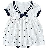 Baby nest 夏 ベビー服 スカート付き 半袖ロンパース 赤ちゃん ワンピース 女の子 セーラー風 水玉 コットン100% 5色