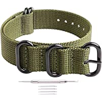 Ritche 18mm 20mm 22mm 24mm NATO Strap Black Heavy Buckle Watch Band