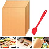 TECHVIDA Copper Grill Mats, BBQ Grill Mats, Bake Mat, Non-Stick Barbecue Mat Set with Silicone Oil Brush for Electric Grill,