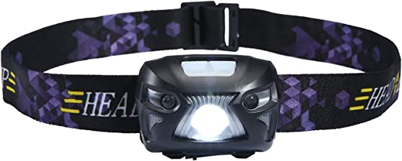 Umiwe LEDヘッドランプ センサー機能 高輝度 超強力200ルーメン 防水 軽量 3つ点灯モード USB充電 ヘッドライト