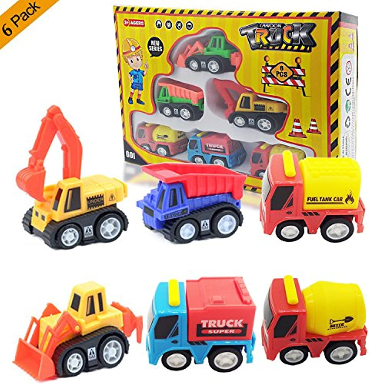 6-Pack Play Vehicles, Construction Excavator Dump Bulldozer Fuel Tank Car Truck Playset, Toy Gift Best Gifts for Kids & Toddlers & Boys