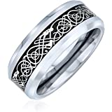 Personalize Two Tone Celtic Knot Dragon Carbon Fiber Inlay Couples Silver Gold Tones Titanium Wedding Band RingsforMen for