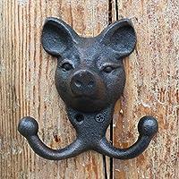 CJH ヨーロッパのレトロ鋳鉄鍛鉄フック壁壁掛け掛け掛けフックフックフック装飾豚の頭のフックホームデコレーション