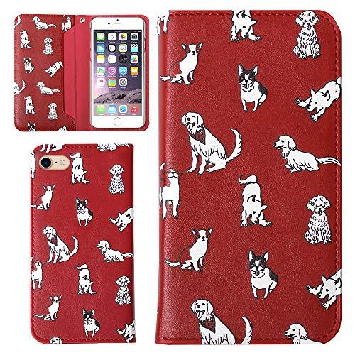 Galaxy S4 SC-04Eケース 手帳型 カバー Dog イヌ ワンちゃん フリップケース 落下防止 ベルトなし 手帳 スマホケース カード収納 ケース (ガーネット) 全機種対応 Docomo