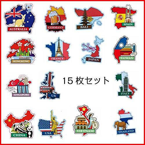 国旗地図シール ナショナルフラッグ&マップ ステッカー 15...