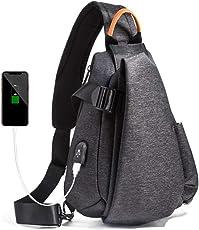 【正規品】Elife メンズボディバッグ ワンショルダーバッグ 斜めがけ 軽量 防水 USBポートカジュアル ドロップシェイプクロスボディバッグ