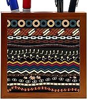 Rikki Knight Figures of Mammoth Tribal Pattern Design 5-Inch Tile Wooden Tile Pen Holder (RK-PH43290) [並行輸入品]