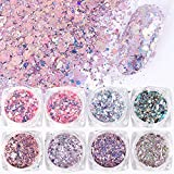 VOLODIA 8 Boxes/Set Holographic Nail Glitter Mermaid Powder Flakes Shiny Charms Hexagon Nail Art Pigment Dust Decoration Manicure