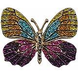 Reizteko Winged Butterfly Crystal Rhinestones Brooch Pin (Yellow Blue Purple)