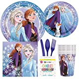 Disney Frozen Birthday Party Supplies Pack Including Cake & Lunch Plates, Cutlery, Cups, Napkins (8 Guests)