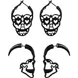 2/6/7 Pairs Halloween Ghost Skeleton Dangle Earrings Assorted Pumpkin Spider Black Cat Bat Cobweb Spiderweb Faux Leather Earr