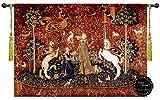 (味覚)貴婦人とユニコーン(一角獣)の中世アートジャガード織 壁掛けタペストリー;A4タッセル付き サイズ;幅119cm×長さ86cm/ Taste-The Lady and the Unicorn 47