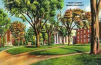 Providence–ブラウン大学;フロントキャンパスビュー 16 x 24 Signed Art Print LANT-29307-709