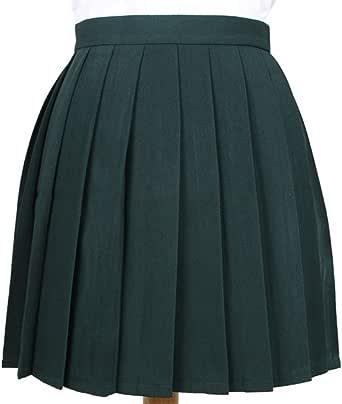 Phoenix's Shop プリーツスカート ミニ 丈40cm レディース 女の子 カワイイ フリフリ 制服スカート ゆらゆら 無地 快適 カジュアル きれい オフィス 学生 ハイウエスト 美脚 (XS, グリーン)