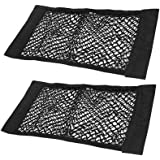 JAVOedge (2 Pack - Large NETS) with Adhesive Tape Storage Net Car Accessories Interior Organizer Car/Truck/RV