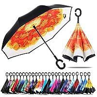 防風性と耐雨性日焼け止め傘逆傘C字型ハンドル傘付き逆傘 (ピオニーオレンジ)