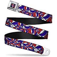 Buckle-Down Seatbelt Belt - Steal Your Face Stacked Red/White/Blue - 1.5 Wide - 24-38 Inches in Length