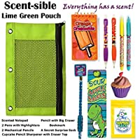 Kids Themed Stationary Accessories-Pencils Pens Erasers & 1 Secret Surprise Sack (TM) - Unique Back to School Supplies Stocking Stuffers & Easter Basket Fillers (ScentSible - Lime Pouch) [並行輸入品]
