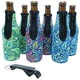 Beer Bottle Sleeves - Premium Set of 6 (Paisley) Bottle Sleeves - Extra Thick Neoprene with Stitched Fabric Edges with Bonus Bottle Opener by Lazy Dog Warehouse